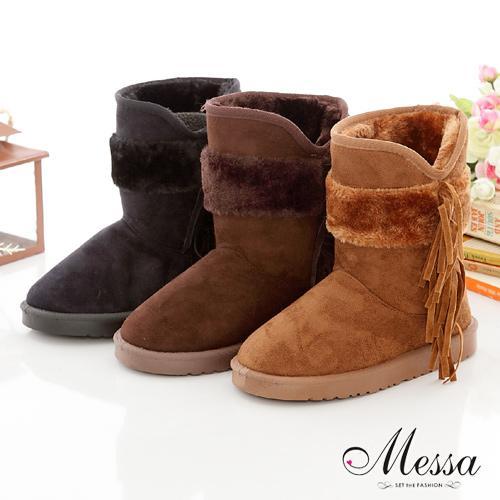 【Messa米莎】冬季迷漾蝴蝶結短筒雪靴-三色