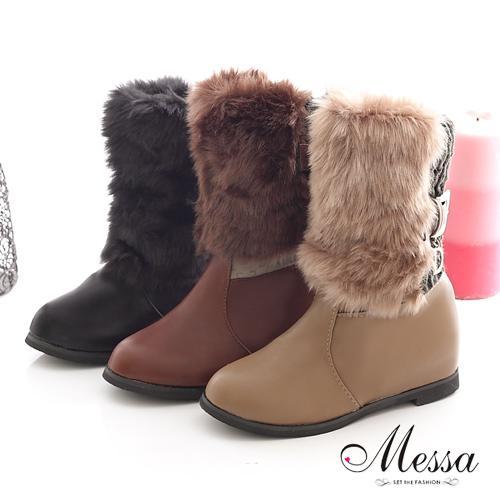 【Messa米莎】人氣甜心毛毛內增高中筒靴-三色
