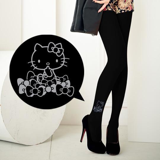 【MEINAS x Hello Kitty】#569 MIT200丹保暖天鵝絨褲襪-白線條