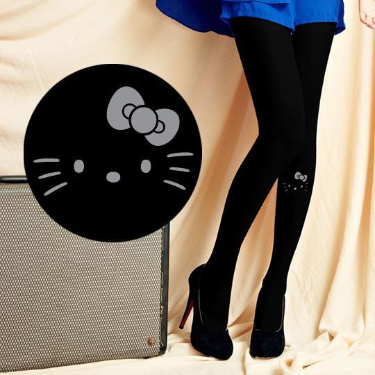 【MEINAS x Hello Kitty】 #573 MIT 200丹保暖天鵝絨褲襪-黑