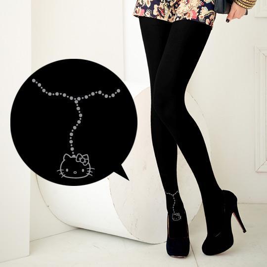 【MEINAS x Hello Kitty】 #572 MIT 200丹保暖天鵝絨褲襪-黑