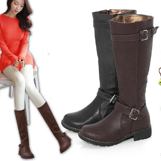 【Messa米莎】嚴選皮帶飾釦造型長靴-兩色