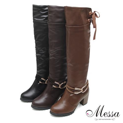 【Messa米莎】都會風采金屬釦環後綁帶高跟長靴-三色