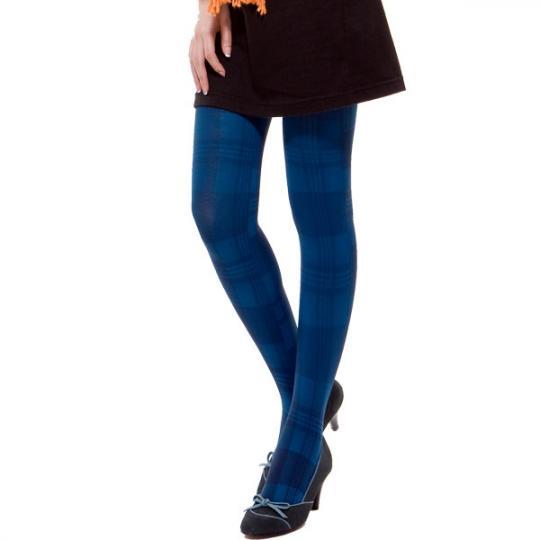 精雕細塑 英倫學院風菱格襪-120丹(藏青藍)