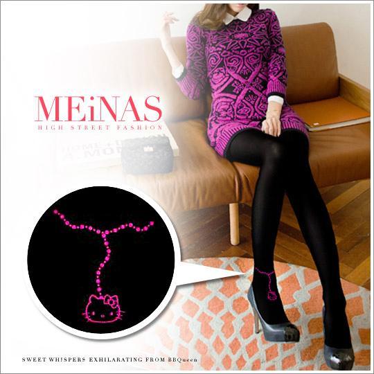 【MEINAS x Hello Kitty】 #598 MIT 200丹保暖天鵝絨褲襪-黑