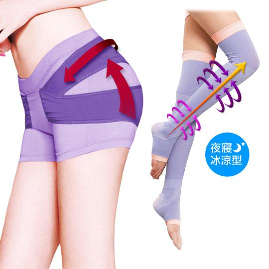 (冰涼減吋寢襪1+1)VS.日夜美臀褲-紫色