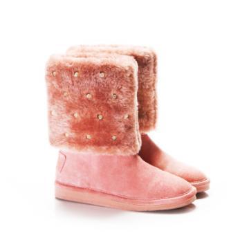 【SugarMelon x 瑞莎】俏皮甜美款 捷克鑲鑽真麂皮短靴(甜美粉)
