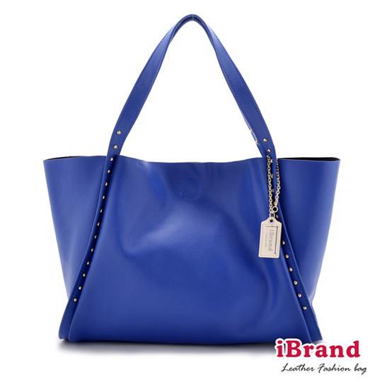 【i Brand 真皮包包】百搭風格-牛皮吊牌lady莉雅包-爵士藍