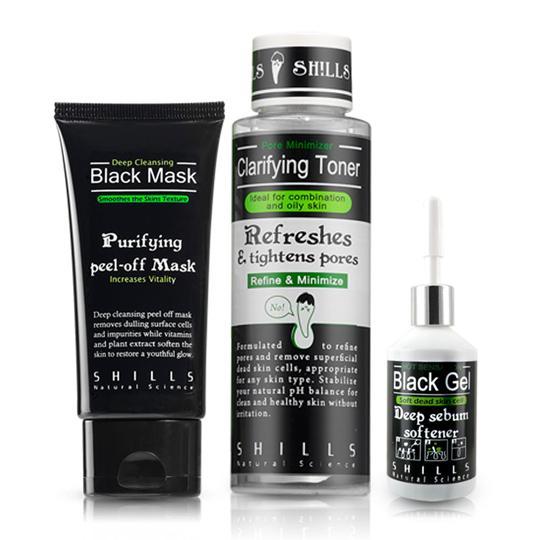 SHILLS舒兒絲-(挽臉活性碳3件組) 黑面膜+熱凝膠+隱形露