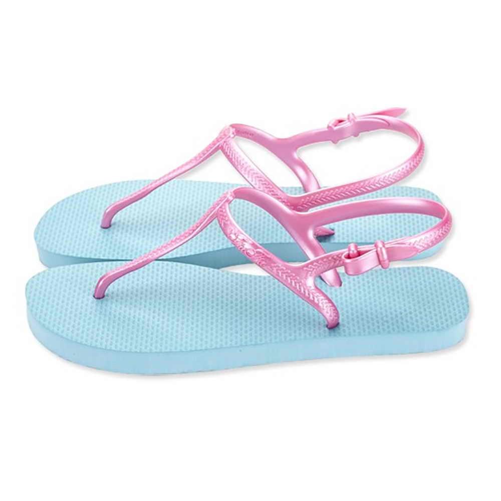 FUFA MIT 可愛配色T字帶海灘拖(D11) - 紫/水藍