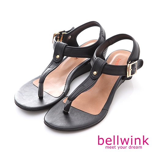 bellwink【B-8920BK】圓點金屬夾腳踝扣厚底涼鞋-黑色