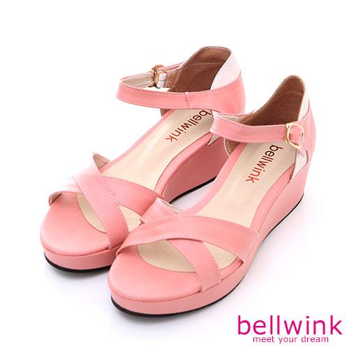 bellwink【B-8926PK】日系皮革條交錯踝扣厚底涼鞋-粉色