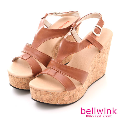 bellwink【B-8925CE】日系羅馬紋踝扣環厚底涼鞋-棕色