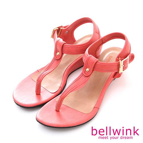 bellwink【B-8920RD】圓點金屬夾腳踝扣厚底涼鞋-紅色