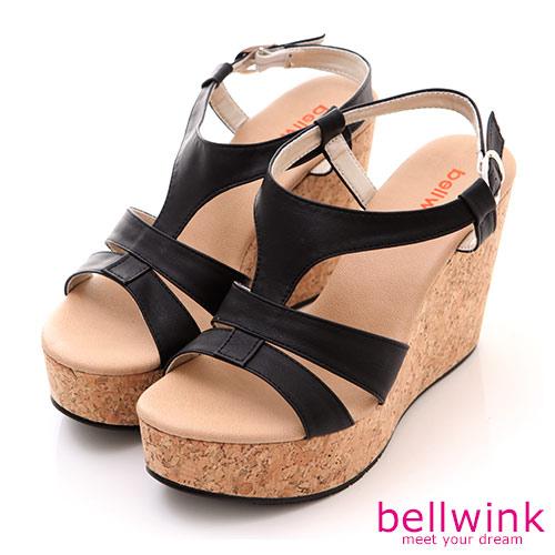 bellwink【B-8925BK】日系羅馬紋踝扣環厚底涼鞋-黑色