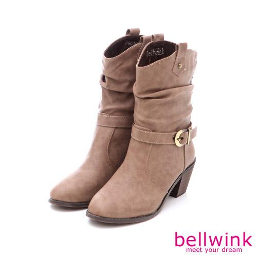 bellwink【B-9024CL】個性騎車風格金屬扣低跟靴-駝色