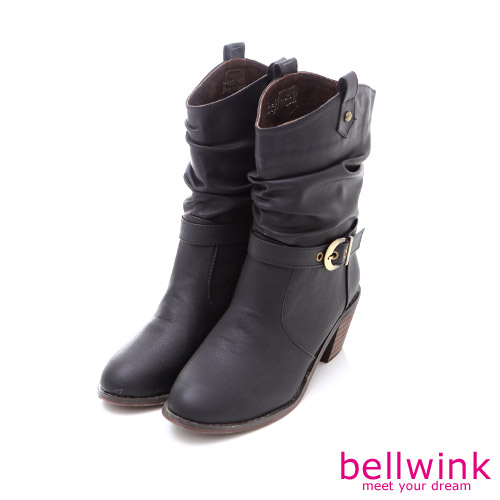 bellwink【B-9024BK】個性騎車風格金屬扣低跟靴-黑色