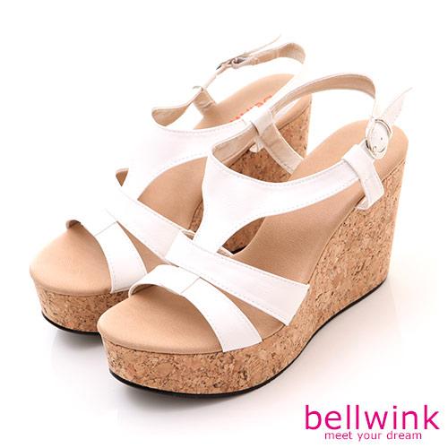 bellwink【B-8925WE】日系羅馬紋踝扣環厚底涼鞋-白色