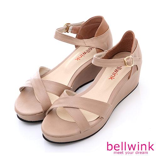 bellwink【B-8926CL】日系皮革條交錯踝扣厚底涼鞋-駝色