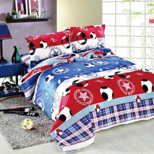 【韋恩寢具】法蘭絨兩用鋪棉床包組-足球/雙人加大