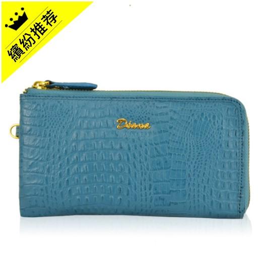 【包たつじん】DIANA JANES 馬卡龍鱷魚紋多功能皮夾-藍 D014062