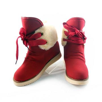 【Moscova】輕甜學院風 抓皺毛領前綁帶中筒雪地靴-紅色