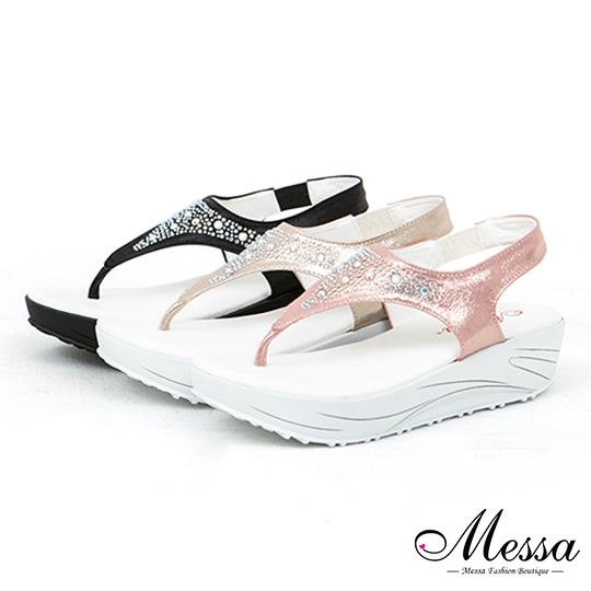【Messa米莎專櫃女鞋】MIT 海灘星空派對七彩碎鑽夾腳厚底涼拖鞋-三色