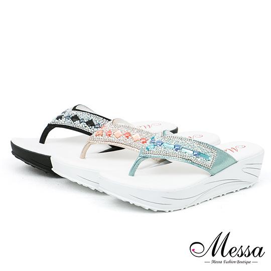 【Messa米莎專櫃女鞋】MIT 閃耀異國風晶鑽寶石厚底涼拖鞋-三色
