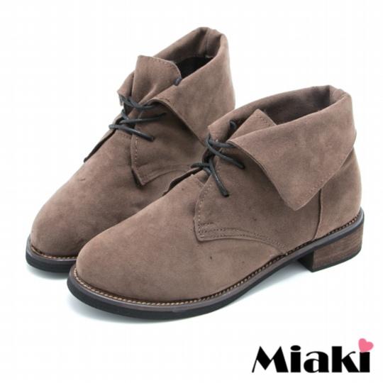 【Miaki】牛津短靴韓式反折平底休閒踝靴 (卡其色)