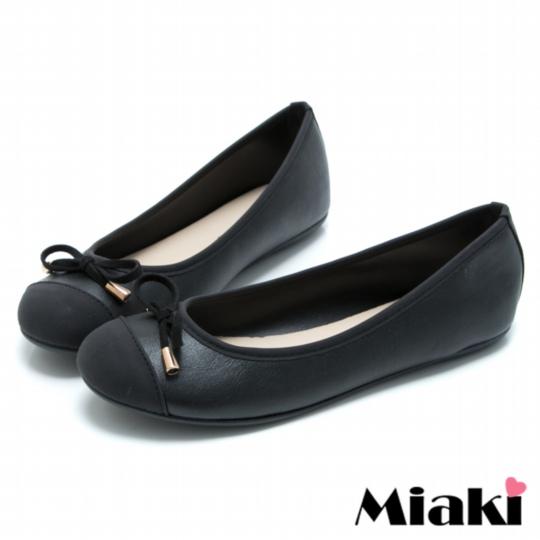 【Miaki】MIT 包鞋蝴蝶韓風拼色娃娃鞋 (黑色)