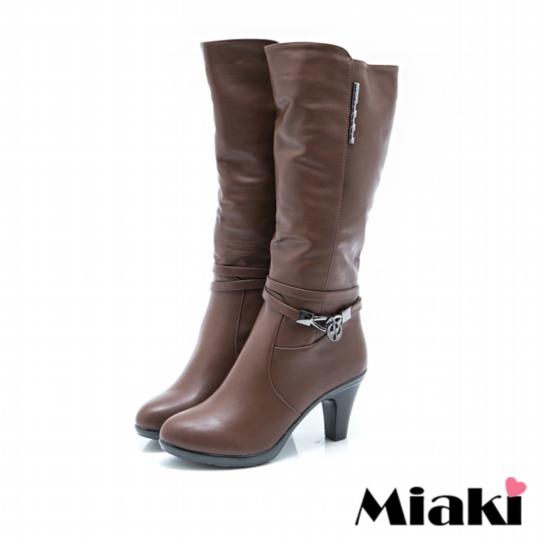 【Miaki】長靴首爾時尚粗跟高筒靴 (棕色)