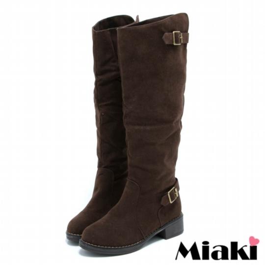 【Miaki】韓風限定長靴 平底低跟高筒靴 ( 棕色 )