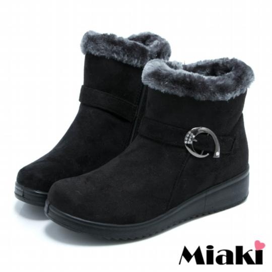 【Miaki】韓版超人氣厚底舖綿短靴雪靴 ( 黑色 )