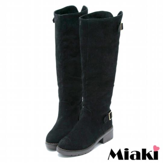 【Miaki】韓風限定長靴 平底低跟高筒靴 ( 黑色 )