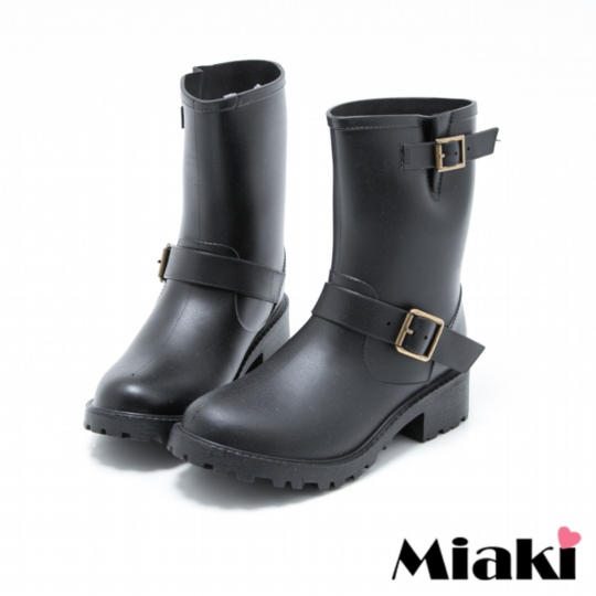 【Miaki】雨靴百搭首選中筒低跟短靴 (黑色)
