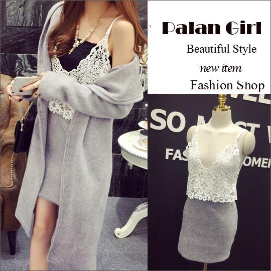 Palan Girl .韓系 冬季可愛造型長版外套+蕾絲背心 +合身包裙三件組套裝