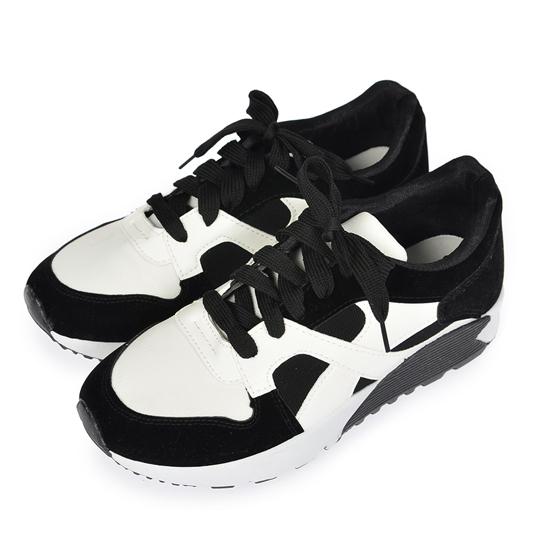 休閒鞋【TOMO】復古混色異材質拼接慢跑鞋‧黑色【K164A3251】