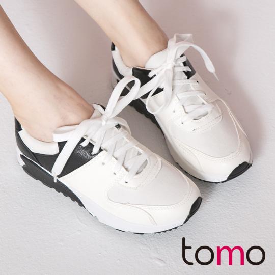 TOMO‧街頭潮流皮感綁帶慢跑鞋‧白色【K134A3404】