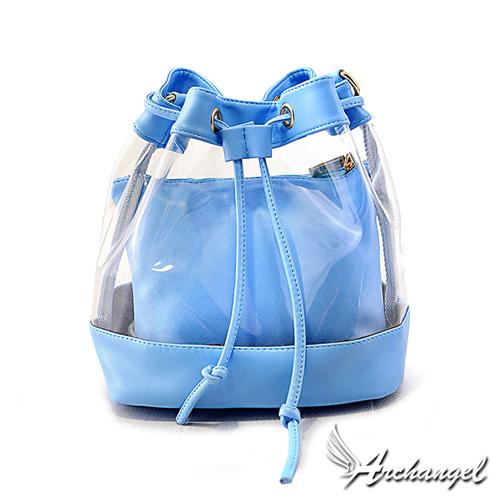 阿卡天使韓熱銷夏日俏麗女孩果凍束繩水桶包-天空藍PB680-BL