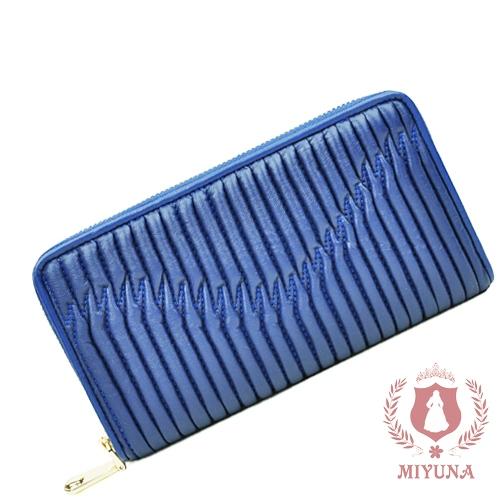 【MIYUNA】巴黎名媛皺褶真羊皮長夾限量訂製-奢華藍