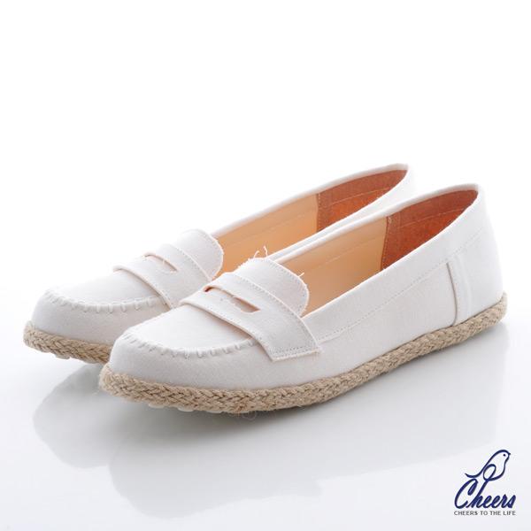 Cheers*春日系棉麻質感微尖頭樂福鞋-白色【Q816】