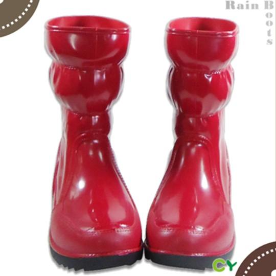 【Sanho】四季時尚半筒雨靴/紅色