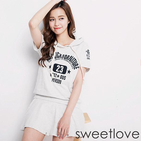 sweetlove - 二件式淺灰印花帽T加鬆緊腰鑽飾裙 (現貨+預購)