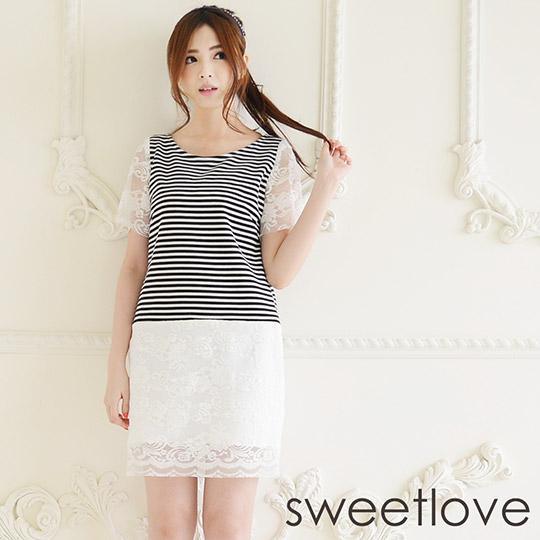 sweetlove - 洋裝條紋拼蕾絲袖裙襬洋裝 (現貨+預購)