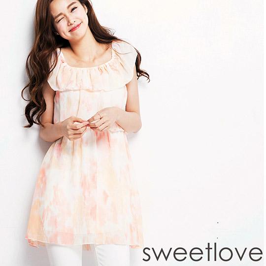 sweetlove - 短連身裙荷葉一字領雲染粉橘雪紡 (現貨+預購)