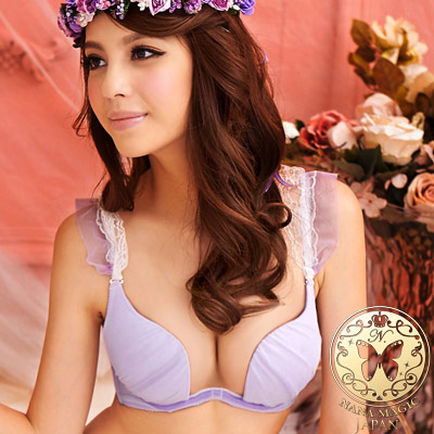 晶漾馬卡龍‧浪漫W鋼圈成套內衣三件組(送2件褲褲-紫) NANA MAGIC Japan