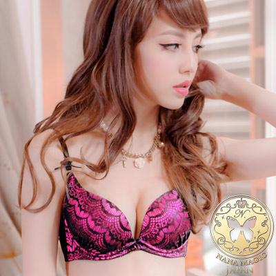 NANA MAGIC Japan 華麗的冒險 蕾絲深V爆乳成套內衣(桃)