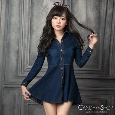 Candy小舖 牛仔丹寧傘狀下擺排釦長袖洋裝-藍色♥ 現貨+預購【0097257】
