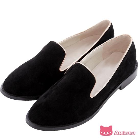 【AmiLuLu】溫柔宣言 百搭蜜絨滾邊休閒樂福鞋*時尚黑