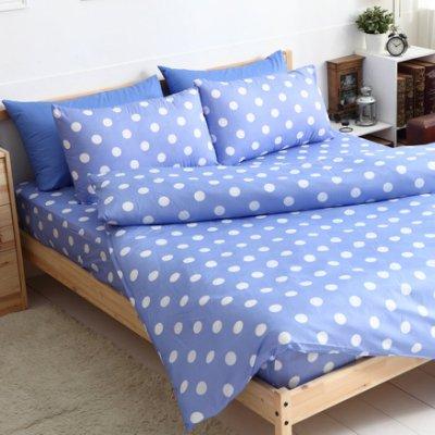 【夢之語寢具】MIT台灣製-輕甜馬卡龍♥蜜桃絲床包三件套組-水滴藍